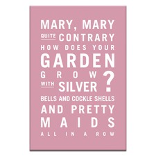 Nursery Art Mary Mary Quite Contrary Stretched Canvas by Teresa Ventura