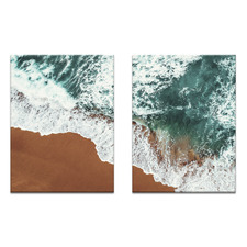 2 Piece White Water Printed Wall Art Set