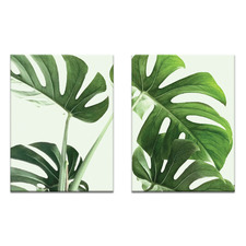2 Piece Large Leaves Printed Wall Art Set