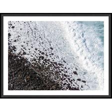 White Waves & Black Volcanic Pebbles Framed Print