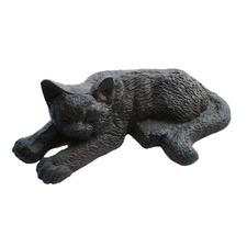 Sleeping Cat Figurine in Antique Rust