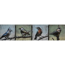 4 Birds Long Metal Wall Art