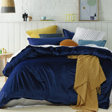 Navy Veronica Velvet Quilt Cover Set
