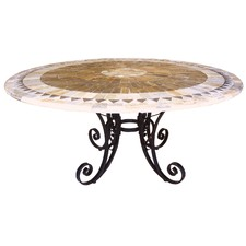 Sunray Round Mosaic Stone Table On Iron Base