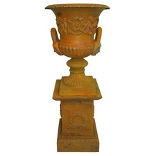 Small Dorchester Urn and Base (Set of 2)
