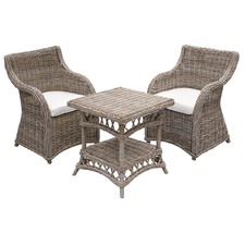 3 Piece Milano Kubu Wicker Coffee Table & Chair Set