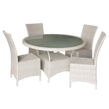 Kenway White 5 Piece PE Rattan & Glass Dining Set