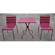 Cancun Slatted 3 Piece Outdoor Metal Dining Set