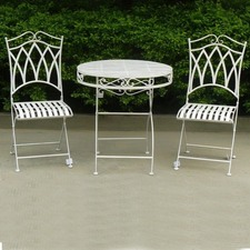 Albany 3 Piece Antique White Wrought Iron Dining Set