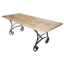 Atlantis Travertine Table on Iron Base