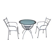 Black Metal 3 Piece Outdoor Dining Set (Set of 3)