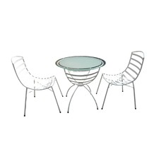 White Metal 3 Piece Outdoor Dining Set (Set of 3)