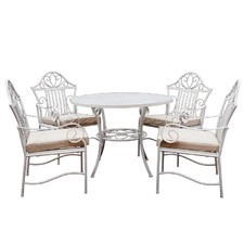 5 Piece Lotus Iron Outdoor Dining Table & Chair Set
