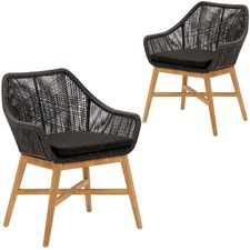 Black Stream PE Wicker Outdoor Dining Chairs (Set of 2)