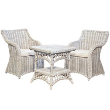 3 Piece Roma Wicker Coffee Table & Chair Set