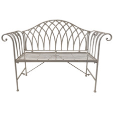 White Lavinia Iron Outdoor Bench
