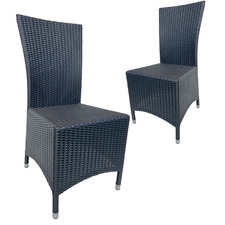 Black Tangier PE Wicker Outdoor Dining Chairs (Set of 2)