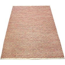 Rust Squares Hand-Knotted Cotton Rug