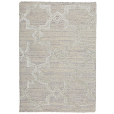 Beige Estelle Trellis Hand-Woven Bamboo Silk Rug