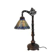 Peacock Style Bridge-arm Tiffany Table Lamp