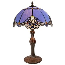 Baroque Style Tiffany Leadlight Blue Stained Glass Desk Lamp