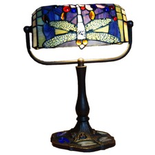 Traditional Dragonfly Tiffany Leadlight Stained Glass Banker Lamp