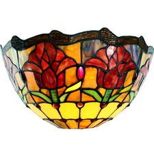 Traditional Colonial Style Tulip Tiffany Wall Sconce