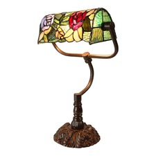 Romantic Rose Tiffany Banker Lamp