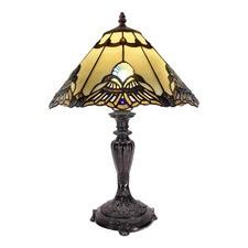 Beige Jewel Carousel Tiffany Bedside Lamp
