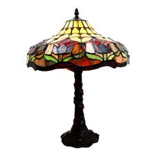 Traditional Colonial Style Tulip Tiffany Bedside Lamp