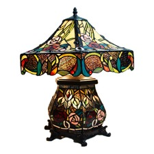 Large Traditional Rose Tiffany Table Lamp