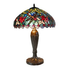 Large Blue Traditional Dragonfly Tiffany Table Lamp