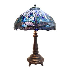Large Traditional Blue Dragonfly Tiffany Table Lamp
