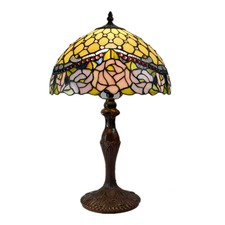 Jewelled Rose Leadlight Tiffany Bedside Lamp