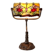 Traditional Colonial Style Tulip Tiffany Banker Lamp