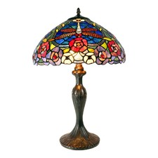 Large Red Dragonfly Floral Tiffany Table Lamp