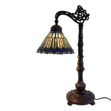 Peacock Tail Tiffany Bridge Arm Table Lamp