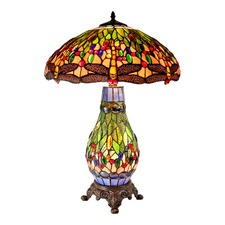 Large Traditional Green Dragonfly Tiffany Table Lamp