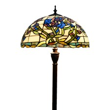 Purple Iris Stained Glass Tiffany Floor Lamp