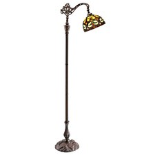 Ornamental Tiffany Leadlight Bridge Arm Floor Lamp