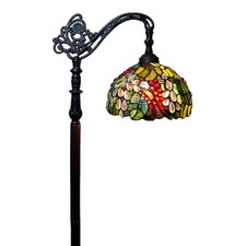 Traditional Grape Tiffany Bridge Arm Floor Lamp
