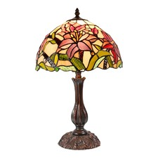 Oriental Lily Stained Glass Leadlight Tiffany Table Lamp