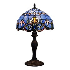 Blue Baroque Tiffany Bedside Lamp