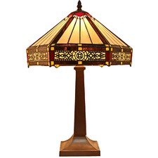 Square Based Filigree Tiffany Style Table Lamp