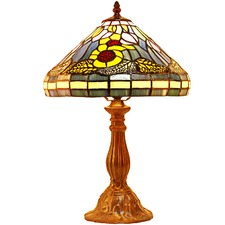 Flower & Falling Leaf Tiffany Style Bedside Lamp