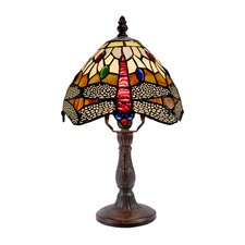 Traditional Dragonfly Tiffany Style Mini Table Lamp