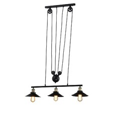 Vintage Style Pulley 3 Light Pendant