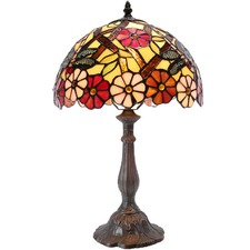 Yellow Dragonfly & Daisy Tiffany Style Bedside Lamp