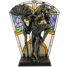 Art Deco Feather Dancer Tiffany Style Lamp