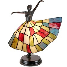 Art Deco Skirted Dancer Tiffany Style Accent Lamp